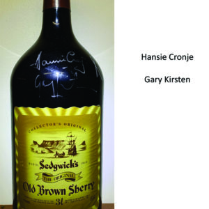 Private Collection cricket memorabilia - 3l Old Brown Sherry bottle signed by 1996 Proteas cricket team