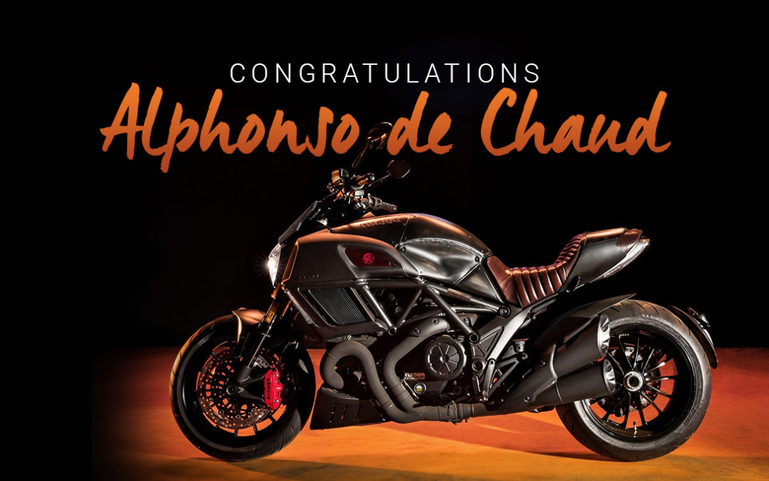 AND THE WINNER IS……. Ducati Diavel worth R280k goes to raffle ticket holder No. 98 in the COURAGE DUCATI RAFFLE!